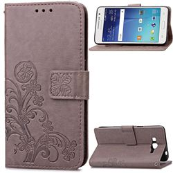 Embossing Imprint Four-Leaf Clover Leather Wallet Case for Samsung Galaxy Grand Prime G530 - Gray
