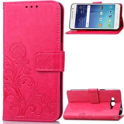 Embossing Imprint Four-Leaf Clover Leather Wallet Case for Samsung Galaxy Grand Prime G530 - Rose
