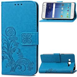 Embossing Imprint Four-Leaf Clover Leather Wallet Case for Samsung Galaxy Grand Prime G530 - Blue