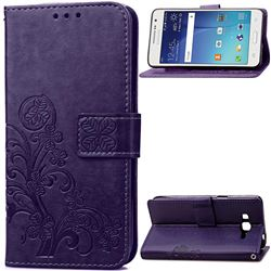 Embossing Imprint Four-Leaf Clover Leather Wallet Case for Samsung Galaxy Grand Prime G530 - Purple