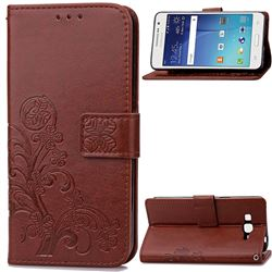 Embossing Imprint Four-Leaf Clover Leather Wallet Case for Samsung Galaxy Grand Prime G530 - Brown