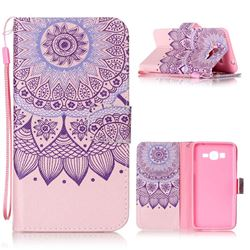 Purple Sunflower Leather Wallet Phone Case for Samsung Grand Prime G530