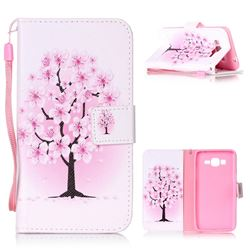 Peach Flower Leather Wallet Phone Case for Samsung Grand Prime G530
