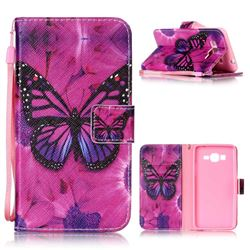 Black Butterfly Leather Wallet Phone Case for Samsung Grand Prime G530
