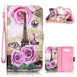 Rose Eiffel Tower Leather Wallet Phone Case for Samsung Grand Prime G530