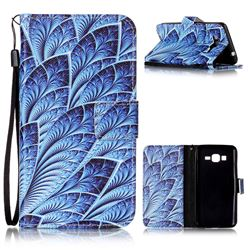 Blue Feather Leather Wallet Phone Case for Samsung Grand Prime G530