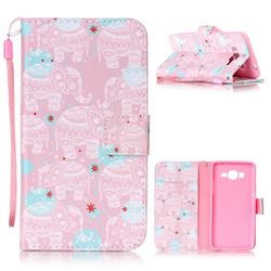 Pink Elephant Leather Wallet Phone Case for Samsung Grand Prime G530