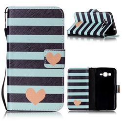 Blue Stripe Heart Leather Wallet Phone Case for Samsung Grand Prime G530