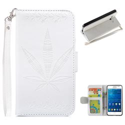 Intricate Embossing Maple Leather Wallet Case for Samsung Galaxy Grand Prime G530 - White