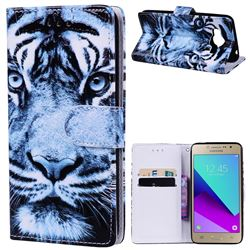 Snow Tiger 3D Relief Oil PU Leather Wallet Case for Samsung Galaxy Grand Prime G530