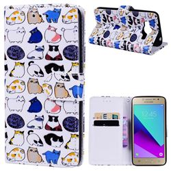 Mini Cat 3D Relief Oil PU Leather Wallet Case for Samsung Galaxy Grand Prime G530