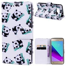 Bamboo Panda 3D Relief Oil PU Leather Wallet Case for Samsung Galaxy Grand Prime G530