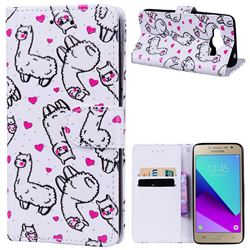 Alpaca 3D Relief Oil PU Leather Wallet Case for Samsung Galaxy Grand Prime G530