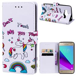Rainbow Unicorn 3D Relief Oil PU Leather Wallet Case for Samsung Galaxy Grand Prime G530