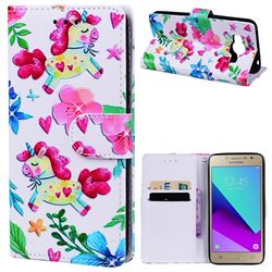 Flowers Unicorns 3D Relief Oil PU Leather Wallet Case for Samsung Galaxy Grand Prime G530