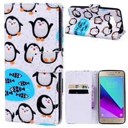 Penguin 3D Relief Oil PU Leather Wallet Case for Samsung Galaxy Grand Prime G530