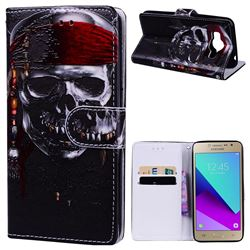 Skull Head 3D Relief Oil PU Leather Wallet Case for Samsung Galaxy Grand Prime G530