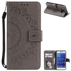 Intricate Embossing Datura Leather Wallet Case for Samsung Galaxy Grand Prime G530 - Gray