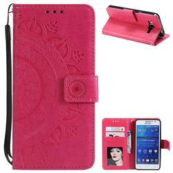 Intricate Embossing Datura Leather Wallet Case for Samsung Galaxy Grand Prime G530 - Rose Red