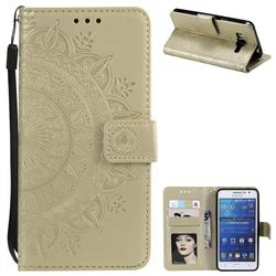 Intricate Embossing Datura Leather Wallet Case for Samsung Galaxy Grand Prime G530 - Golden