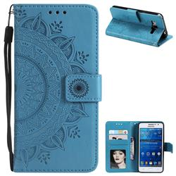 Intricate Embossing Datura Leather Wallet Case for Samsung Galaxy Grand Prime G530 - Blue