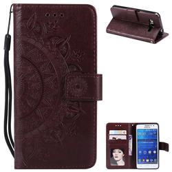 Intricate Embossing Datura Leather Wallet Case for Samsung Galaxy Grand Prime G530 - Brown