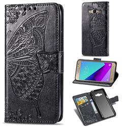 Embossing Mandala Flower Butterfly Leather Wallet Case for Samsung Galaxy Grand Prime G530 - Black