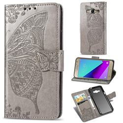 Embossing Mandala Flower Butterfly Leather Wallet Case for Samsung Galaxy Grand Prime G530 - Gray