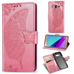 Embossing Mandala Flower Butterfly Leather Wallet Case for Samsung Galaxy Grand Prime G530 - Pink
