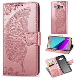 Embossing Mandala Flower Butterfly Leather Wallet Case for Samsung Galaxy Grand Prime G530 - Rose Gold