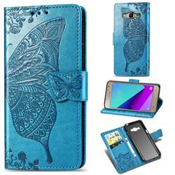 Embossing Mandala Flower Butterfly Leather Wallet Case for Samsung Galaxy Grand Prime G530 - Blue