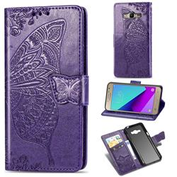Embossing Mandala Flower Butterfly Leather Wallet Case for Samsung Galaxy Grand Prime G530 - Dark Purple
