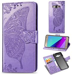 Embossing Mandala Flower Butterfly Leather Wallet Case for Samsung Galaxy Grand Prime G530 - Light Purple