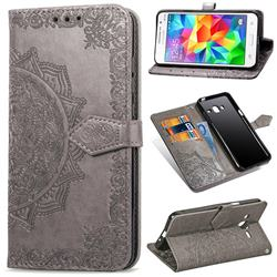 Embossing Imprint Mandala Flower Leather Wallet Case for Samsung Galaxy Grand Prime G530 - Gray