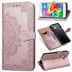 Embossing Imprint Mandala Flower Leather Wallet Case for Samsung Galaxy Grand Prime G530 - Rose Gold