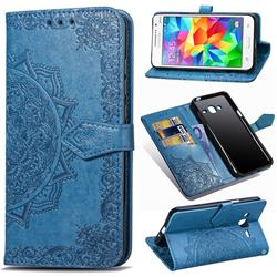 Embossing Imprint Mandala Flower Leather Wallet Case for Samsung Galaxy Grand Prime G530 - Blue