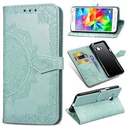 Embossing Imprint Mandala Flower Leather Wallet Case for Samsung Galaxy Grand Prime G530 - Green