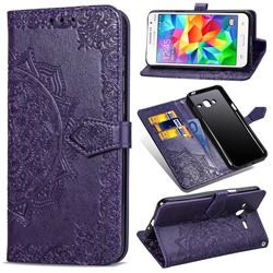 Embossing Imprint Mandala Flower Leather Wallet Case for Samsung Galaxy Grand Prime G530 - Purple