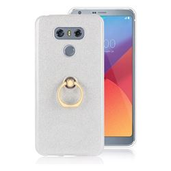 Luxury Soft TPU Glitter Back Ring Cover with 360 Rotate Finger Holder Buckle for LG G6 - White