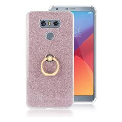 Luxury Soft TPU Glitter Back Ring Cover with 360 Rotate Finger Holder Buckle for LG G6 - Pink