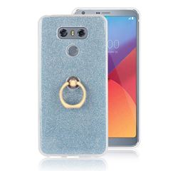 Luxury Soft TPU Glitter Back Ring Cover with 360 Rotate Finger Holder Buckle for LG G6 - Blue