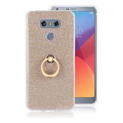 Luxury Soft TPU Glitter Back Ring Cover with 360 Rotate Finger Holder Buckle for LG G6 - Golden