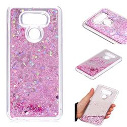 Glitter Sand Mirror Quicksand Dynamic Liquid Star TPU Case for LG G6 - Cherry Pink