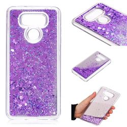 Glitter Sand Mirror Quicksand Dynamic Liquid Star TPU Case for LG G6 - Purple