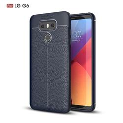 Luxury Auto Focus Litchi Texture Silicone TPU Back Cover for LG G6 - Dark Blue