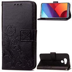 Embossing Imprint Four-Leaf Clover Leather Wallet Case for LG G6 H870 - Black