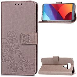 Embossing Imprint Four-Leaf Clover Leather Wallet Case for LG G6 H870 - Grey