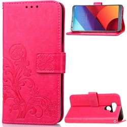 Embossing Imprint Four-Leaf Clover Leather Wallet Case for LG G6 H870 - Rose
