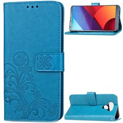 Embossing Imprint Four-Leaf Clover Leather Wallet Case for LG G6 H870 - Blue