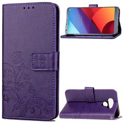Embossing Imprint Four-Leaf Clover Leather Wallet Case for LG G6 H870 - Purple